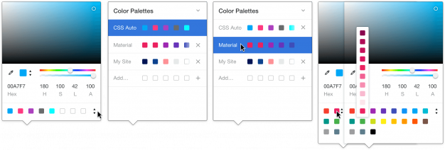 Color Palettes in action in our new color picker.